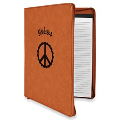 Peace Sign Leatherette Zipper Portfolio with Notepad (Personalized)