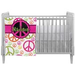 Peace Sign Crib Comforter / Quilt (Personalized)