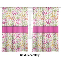 "Peace Sign Curtains - 40""x84"" Panels - Unlined (2 Panels Per Set) (Personalized)"
