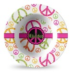 Peace Sign Plastic Bowl - Microwave Safe - Composite Polymer (Personalized)