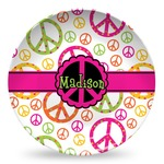 Peace Sign Microwave Safe Plastic Plate - Composite Polymer (Personalized)