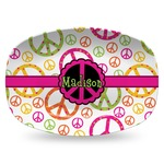 Peace Sign Plastic Platter - Microwave & Oven Safe Composite Polymer (Personalized)