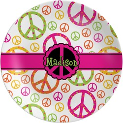Peace Sign Melamine Plate (Personalized)