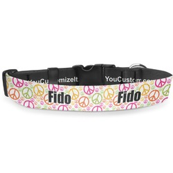 """Peace Sign Deluxe Dog Collar - Small (8.5"""" to 12.5"""") (Personalized)"""