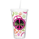 Peace Sign Double Wall Tumbler with Straw (Personalized)