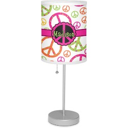"""Peace Sign 7"""" Drum Lamp with Shade Linen (Personalized)"""