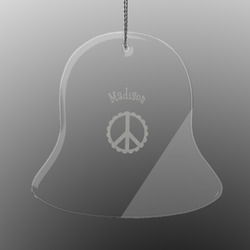 Peace Sign Engraved Glass Ornament - Bell (Personalized)