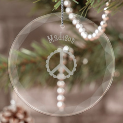 Peace Sign Engraved Glass Ornament (Personalized)