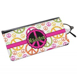 Peace Sign Genuine Leather Eyeglass Case (Personalized)