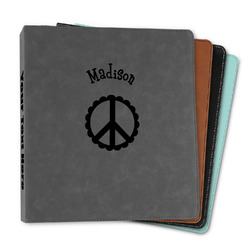 """Peace Sign Leather Binder - 1"""" (Personalized)"""