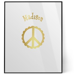 Peace Sign 8x10 Foil Wall Art - White (Personalized)