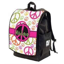 Peace Sign Backpack w/ Front Flap  (Personalized)