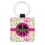 Peace Sign Genuine Leather Rectangular Keychain (Personalized)