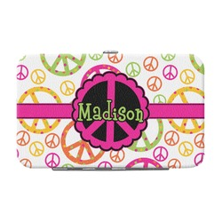 Peace Sign Genuine Leather Small Framed Wallet (Personalized)