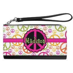 Peace Sign Genuine Leather Smartphone Wrist Wallet (Personalized)