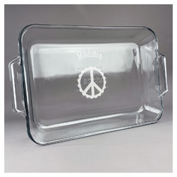 Peace Sign Glass Baking and Cake Dish (Personalized)