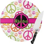 Peace Sign Round Glass Cutting Board (Personalized)