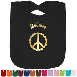 Peace Sign Foil Toddler Bibs (Select Foil Color) (Personalized)