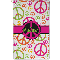 Peace Sign Golf Towel - Full Print - Small w/ Name or Text