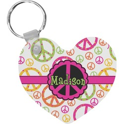 Peace Sign Heart Plastic Keychain w/ Name or Text