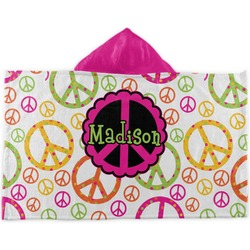 Peace Sign Kids Hooded Towel (Personalized)