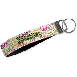 Peace Sign Wristlet Webbing Keychain Fob (Personalized)