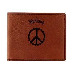 Peace Sign Leatherette Bifold Wallet (Personalized)