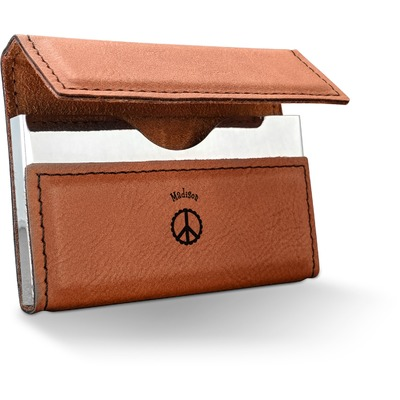 Peace Sign Leatherette Business Card Case (Personalized)