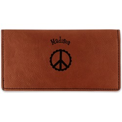 Peace Sign Leatherette Checkbook Holder (Personalized)