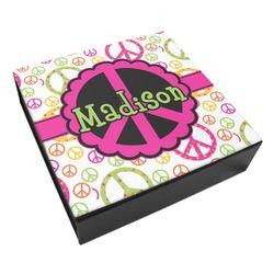 Peace Sign Leatherette Keepsake Box - 8x8 (Personalized)