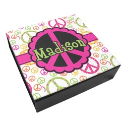 Peace Sign Leatherette Keepsake Box - 8x8 (Personalized)