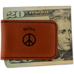 Peace Sign Leatherette Magnetic Money Clip (Personalized)