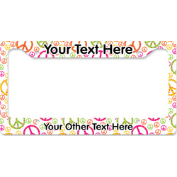 Peace Sign License Plate Frame (Personalized)