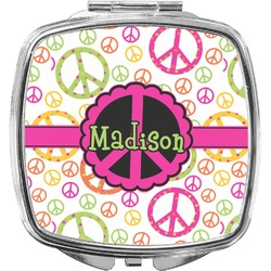 Peace Sign Compact Makeup Mirror (Personalized)