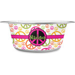 Peace Sign Stainless Steel Dog Bowl (Personalized)