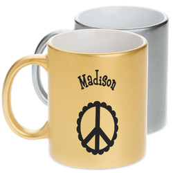 Peace Sign Metallic Mug (Personalized)