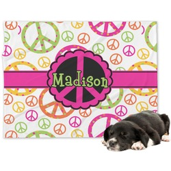 Peace Sign Minky Dog Blanket - Large  (Personalized)