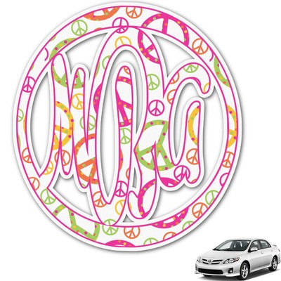 Peace Sign Monogram Car Decal (Personalized)