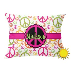 Peace Sign Outdoor Throw Pillow (Rectangular) (Personalized)