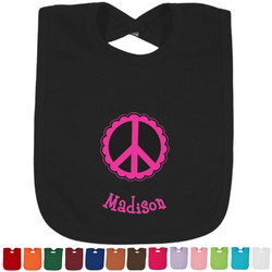 Peace Sign Baby Bib - 14 Bib Colors (Personalized)