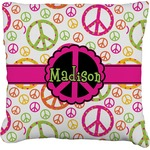 Peace Sign Faux-Linen Throw Pillow (Personalized)