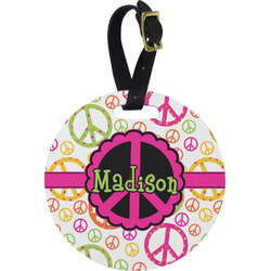 Peace Sign Plastic Luggage Tag - Round (Personalized)