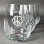 Peace Sign Stemless Wine Glasses (Set of 4) (Personalized)