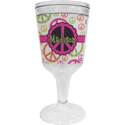 Peace Sign Wine Tumbler - 11 oz Plastic (Personalized)