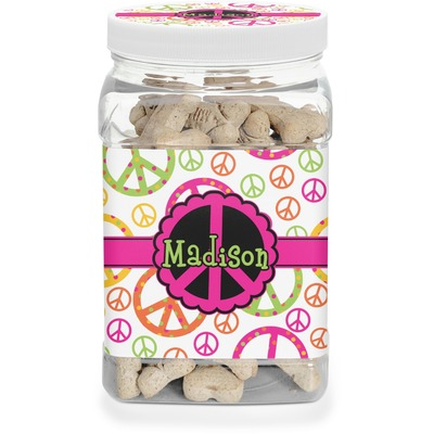 Peace Sign Dog Treat Jar (Personalized)