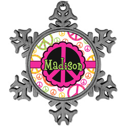 Peace Sign Vintage Snowflake Ornament (Personalized)