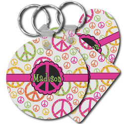 Peace Sign Plastic Keychains (Personalized)