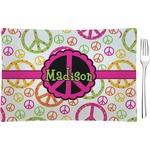 Peace Sign Glass Rectangular Appetizer / Dessert Plate - Single or Set (Personalized)