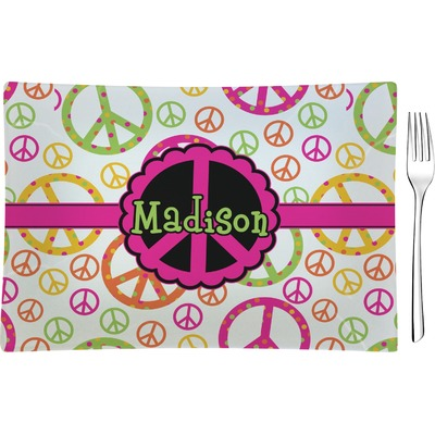 Peace Sign Rectangular Glass Appetizer / Dessert Plate - Single or Set (Personalized)