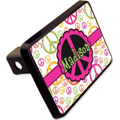 """Peace Sign Rectangular Trailer Hitch Cover - 2"""" (Personalized)"""